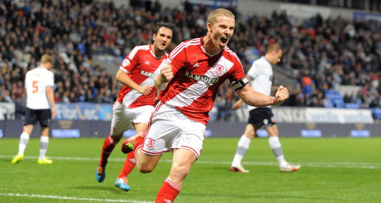 Grant Leadbitter of Middlesbrough celebrates his equaliser from the penalty spot at the end of the first half
