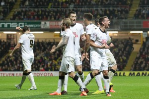 Craig Bryson of Derby County celebrates scoring his sides second goal with team-mates